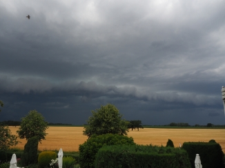 Unwetterfront überm Feld