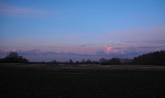 Blick übers Feld in den Abendhimmel