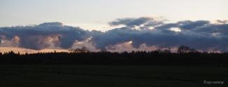 Wolkenfront über Baumreihe
